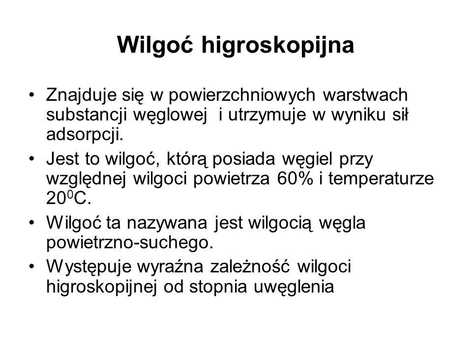 Wilgoć higroskopijna Znajduje się w powierzchniowych warstwach substancji węglowej i utrzymuje w wyniku sił adsorpcji. Jest to wilgoć, którą posiada w