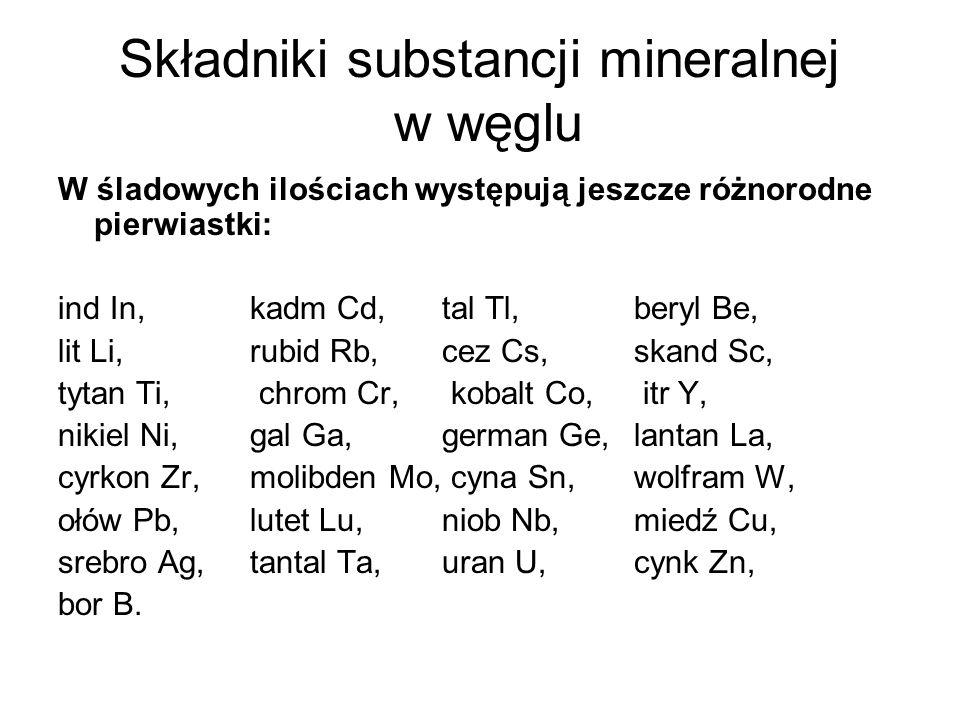 Składniki substancji mineralnej w węglu W śladowych ilościach występują jeszcze różnorodne pierwiastki: ind In, kadm Cd, tal Tl, beryl Be, lit Li, rub