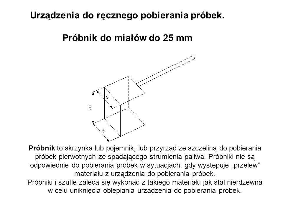Urządzenia do ręcznego pobierania próbek. Próbnik do miałów do 25 mm Próbnik to skrzynka lub pojemnik, lub przyrząd ze szczeliną do pobierania próbek