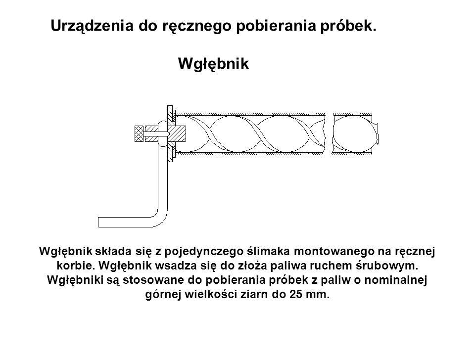 Urządzenia do ręcznego pobierania próbek. Wgłębnik Wgłębnik składa się z pojedynczego ślimaka montowanego na ręcznej korbie. Wgłębnik wsadza się do zł
