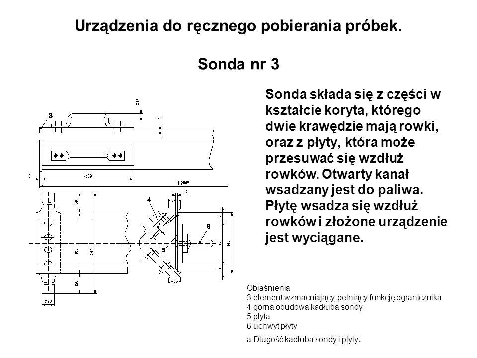 Urządzenia do ręcznego pobierania próbek. Sonda nr 3 Sonda składa się z części w kształcie koryta, którego dwie krawędzie mają rowki, oraz z płyty, kt