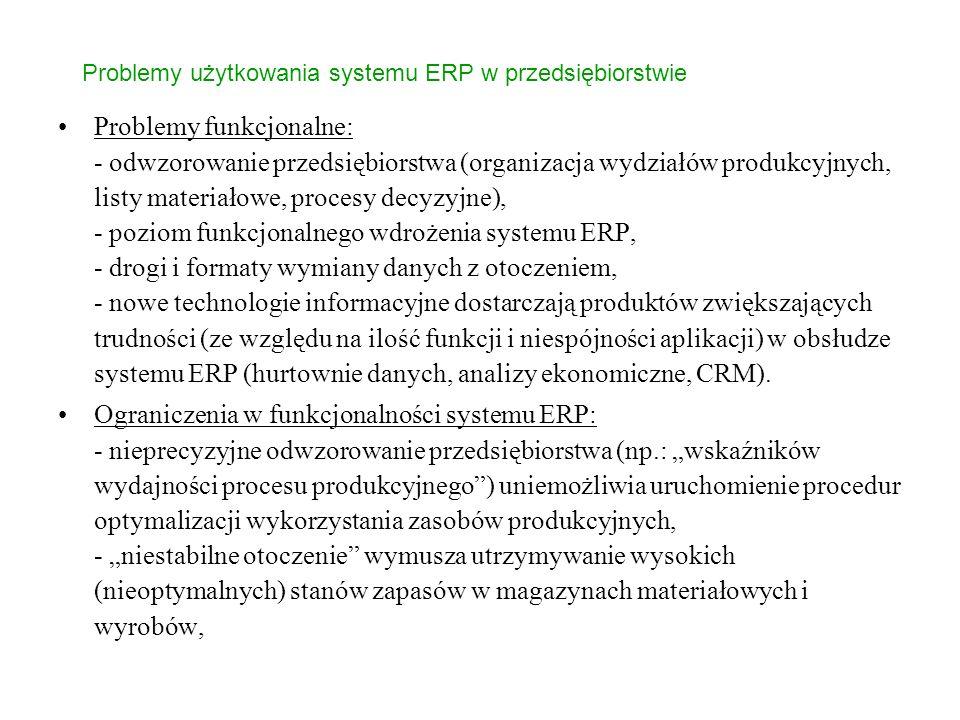 Problemy użytkowania systemu ERP w przedsiębiorstwie Problemy funkcjonalne: - odwzorowanie przedsiębiorstwa (organizacja wydziałów produkcyjnych, listy materiałowe, procesy decyzyjne), - poziom funkcjonalnego wdrożenia systemu ERP, - drogi i formaty wymiany danych z otoczeniem, - nowe technologie informacyjne dostarczają produktów zwiększających trudności (ze względu na ilość funkcji i niespójności aplikacji) w obsłudze systemu ERP (hurtownie danych, analizy ekonomiczne, CRM).