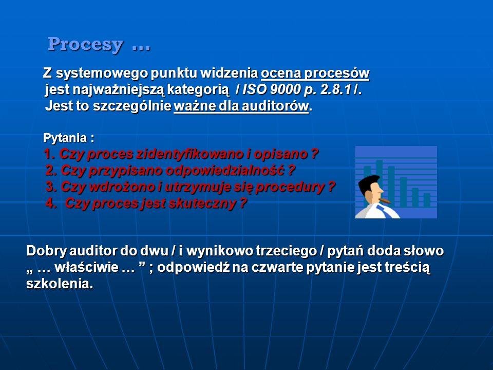 Procesy … Procesy … Z systemowego punktu widzenia ocena procesów Z systemowego punktu widzenia ocena procesów jest najważniejszą kategorią / ISO 9000 p.