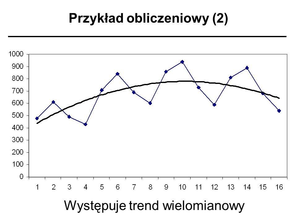 Przykład obliczeniowy (2) Występuje trend wielomianowy