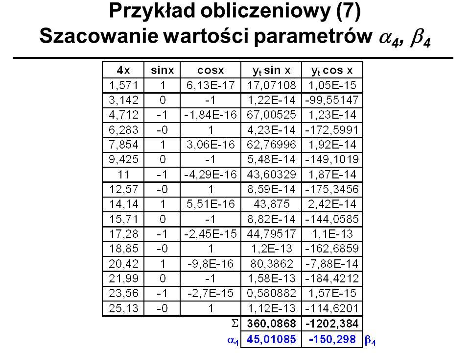 Przykład obliczeniowy (7) Szacowanie wartości parametrów 4, 4