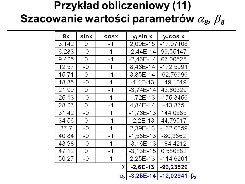 Przykład obliczeniowy (11) Szacowanie wartości parametrów 8, 8