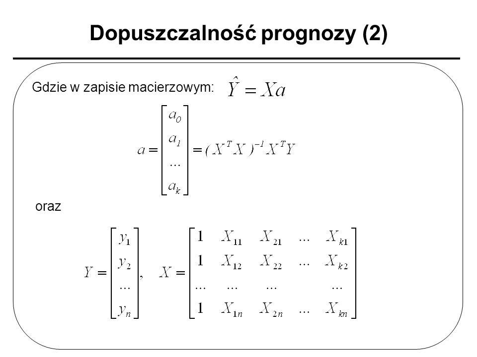 Dopuszczalność prognozy (2) Gdzie w zapisie macierzowym: oraz