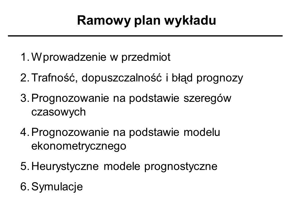 Ramowy plan wykładu 1.Wprowadzenie w przedmiot 2.Trafność, dopuszczalność i błąd prognozy 3.Prognozowanie na podstawie szeregów czasowych 4.Prognozowa