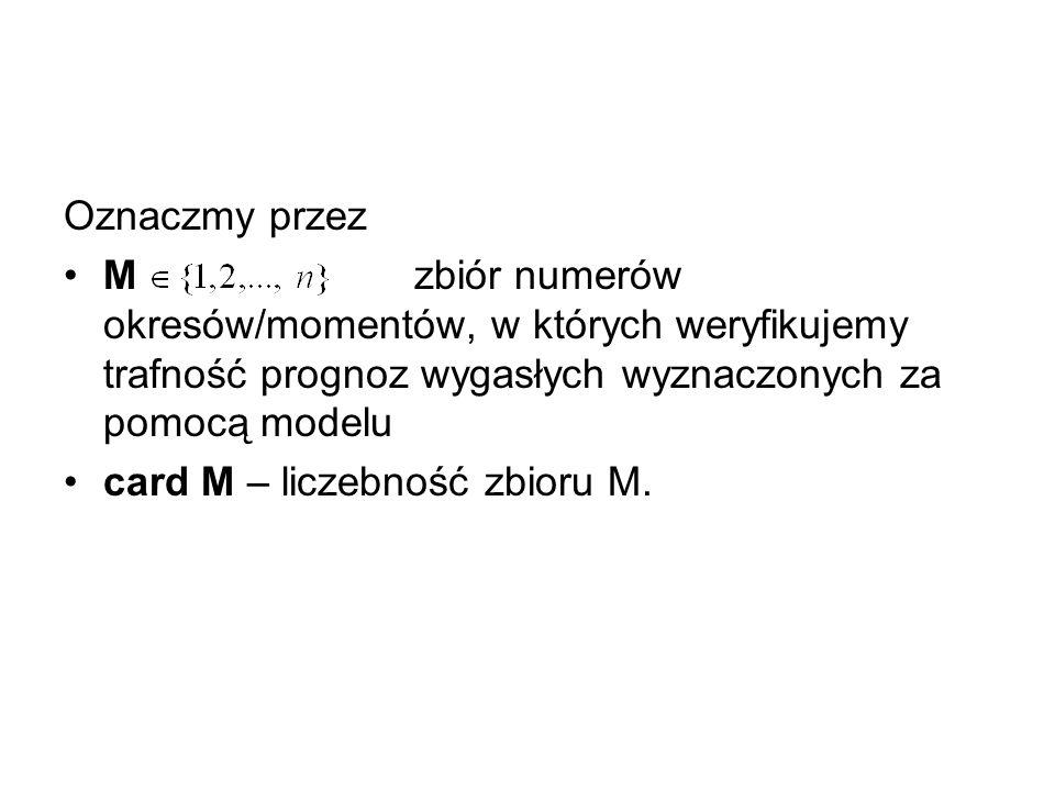 Oznaczmy przez M zbiór numerów okresów/momentów, w których weryfikujemy trafność prognoz wygasłych wyznaczonych za pomocą modelu card M – liczebność z