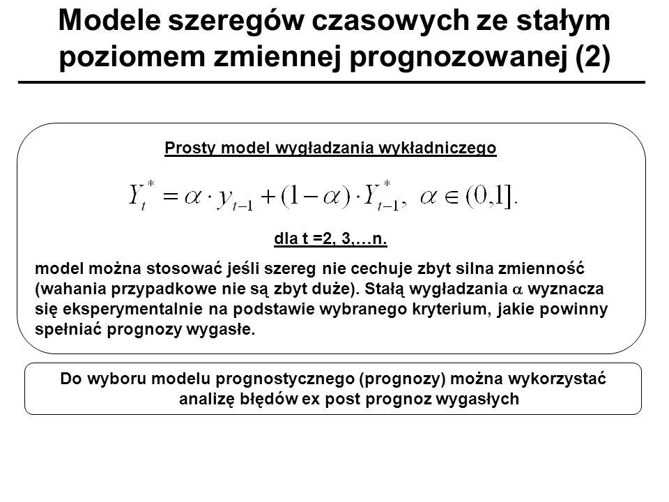 Modele szeregów czasowych ze stałym poziomem zmiennej prognozowanej (2) Prosty model wygładzania wykładniczego dla t =2, 3,…n. model można stosować je