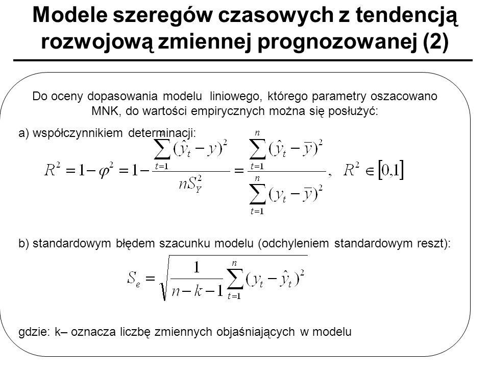 Modele szeregów czasowych z tendencją rozwojową zmiennej prognozowanej (2) Do oceny dopasowania modelu liniowego, którego parametry oszacowano MNK, do