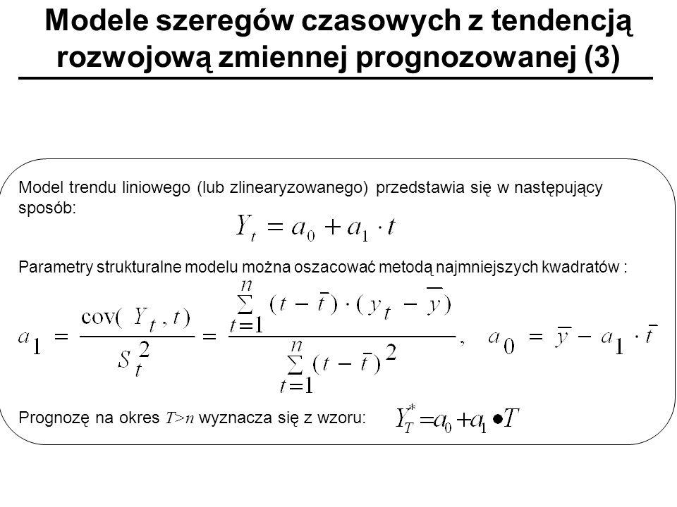 Modele szeregów czasowych z tendencją rozwojową zmiennej prognozowanej (3) Model trendu liniowego (lub zlinearyzowanego) przedstawia się w następujący