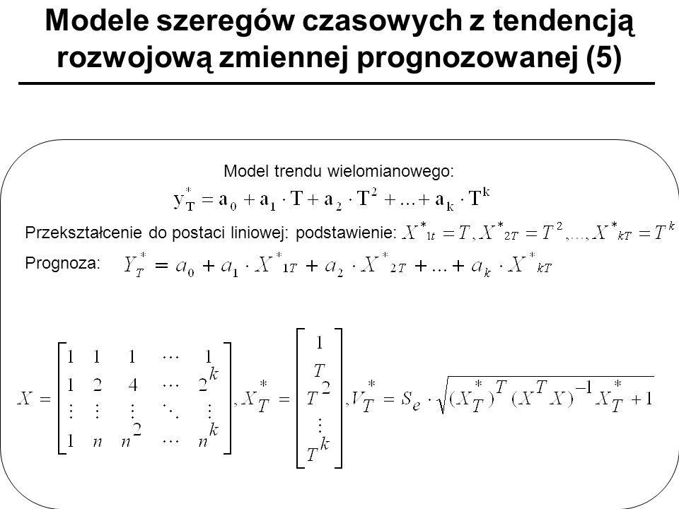 Modele szeregów czasowych z tendencją rozwojową zmiennej prognozowanej (5) Model trendu wielomianowego: Przekształcenie do postaci liniowej: podstawie