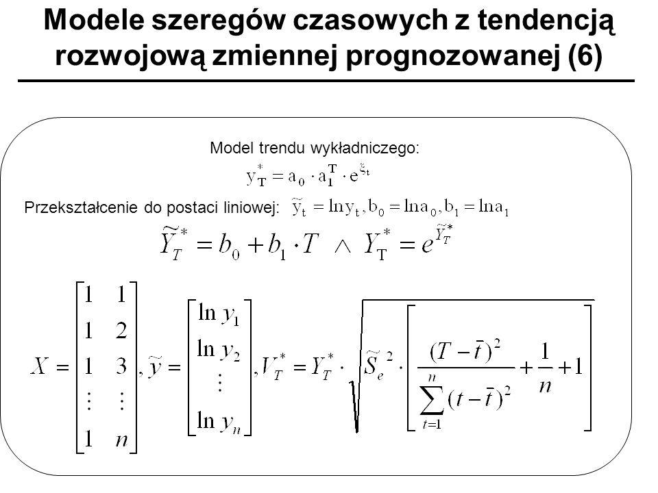 Modele szeregów czasowych z tendencją rozwojową zmiennej prognozowanej (6) Model trendu wykładniczego: Przekształcenie do postaci liniowej: