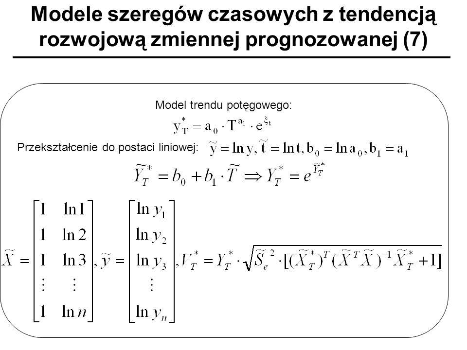 Modele szeregów czasowych z tendencją rozwojową zmiennej prognozowanej (7) Model trendu potęgowego: Przekształcenie do postaci liniowej: