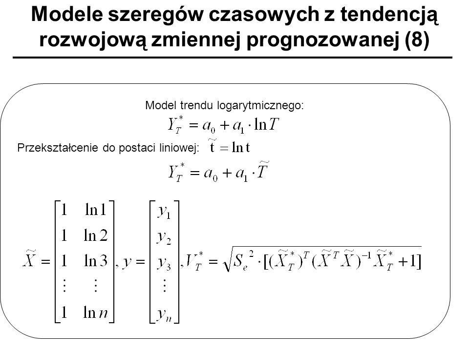 Modele szeregów czasowych z tendencją rozwojową zmiennej prognozowanej (8) Model trendu logarytmicznego: Przekształcenie do postaci liniowej: