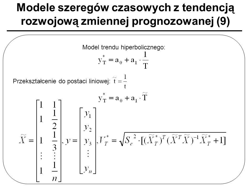 Modele szeregów czasowych z tendencją rozwojową zmiennej prognozowanej (9) Model trendu hiperbolicznego: Przekształcenie do postaci liniowej: