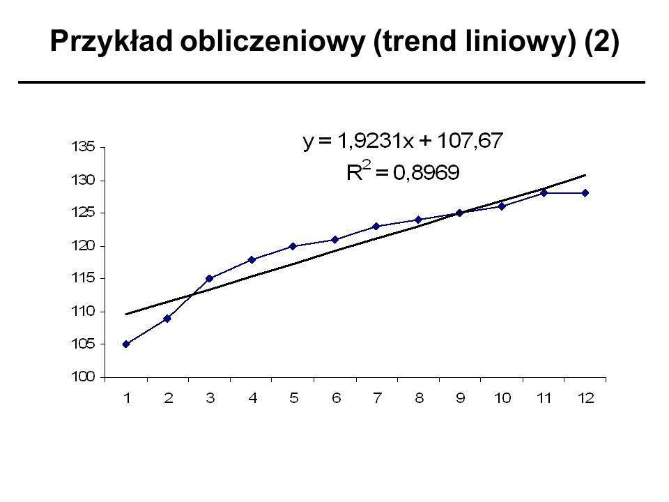Przykład obliczeniowy (trend liniowy) (2)