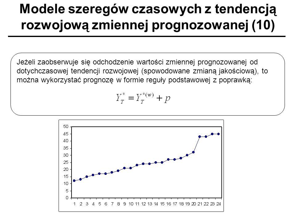 Modele szeregów czasowych z tendencją rozwojową zmiennej prognozowanej (10) Jeżeli zaobserwuje się odchodzenie wartości zmiennej prognozowanej od doty