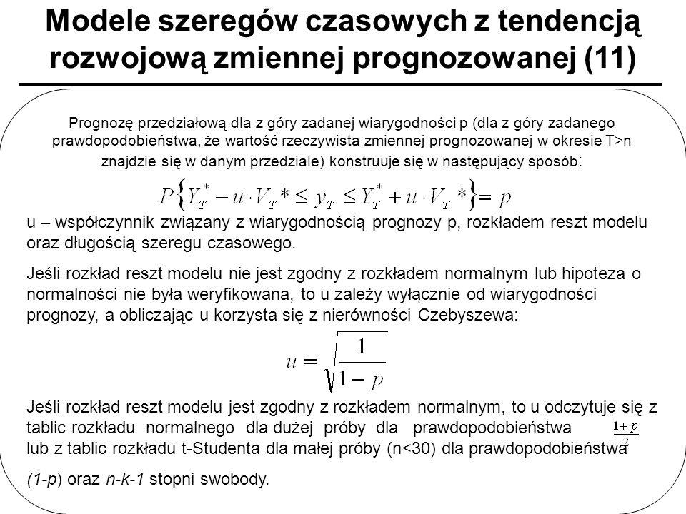 Modele szeregów czasowych z tendencją rozwojową zmiennej prognozowanej (11) Prognozę przedziałową dla z góry zadanej wiarygodności p (dla z góry zadan