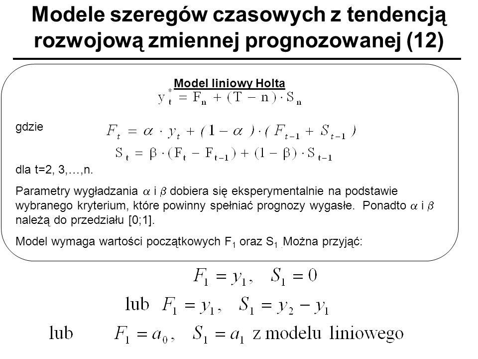 Modele szeregów czasowych z tendencją rozwojową zmiennej prognozowanej (12) Model liniowy Holta gdzie dla t=2, 3,…,n. Parametry wygładzania i dobiera