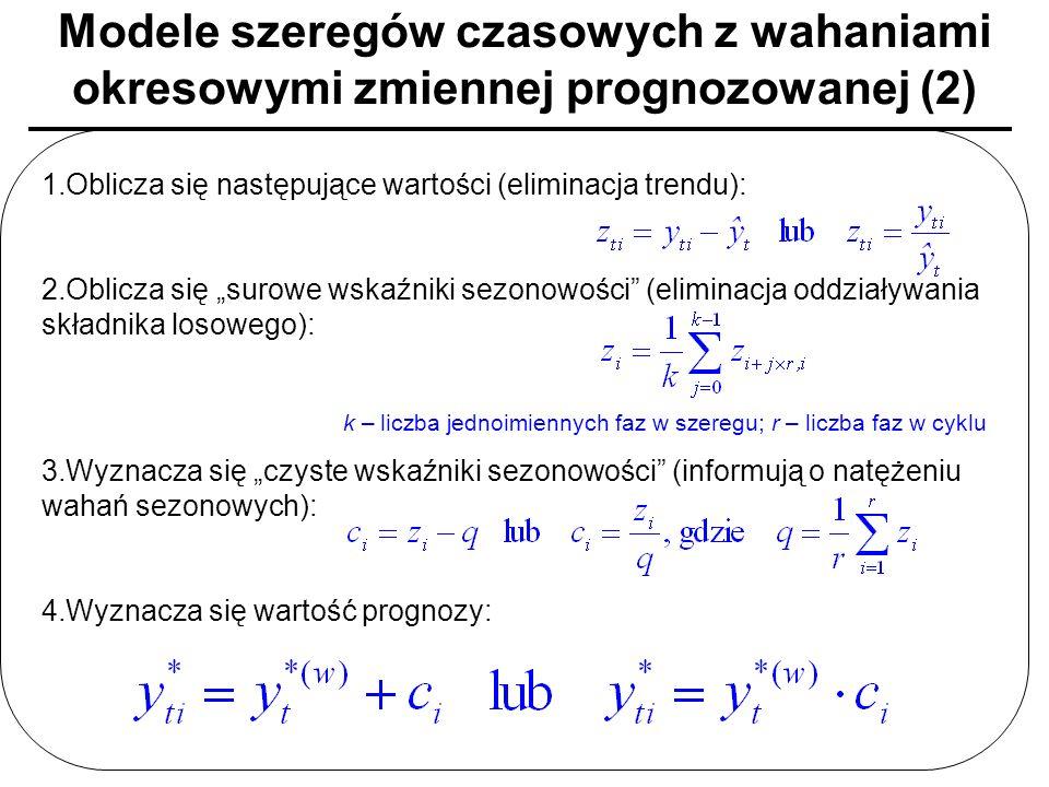 Modele szeregów czasowych z wahaniami okresowymi zmiennej prognozowanej (2) 1.Oblicza się następujące wartości (eliminacja trendu): 2.Oblicza się suro