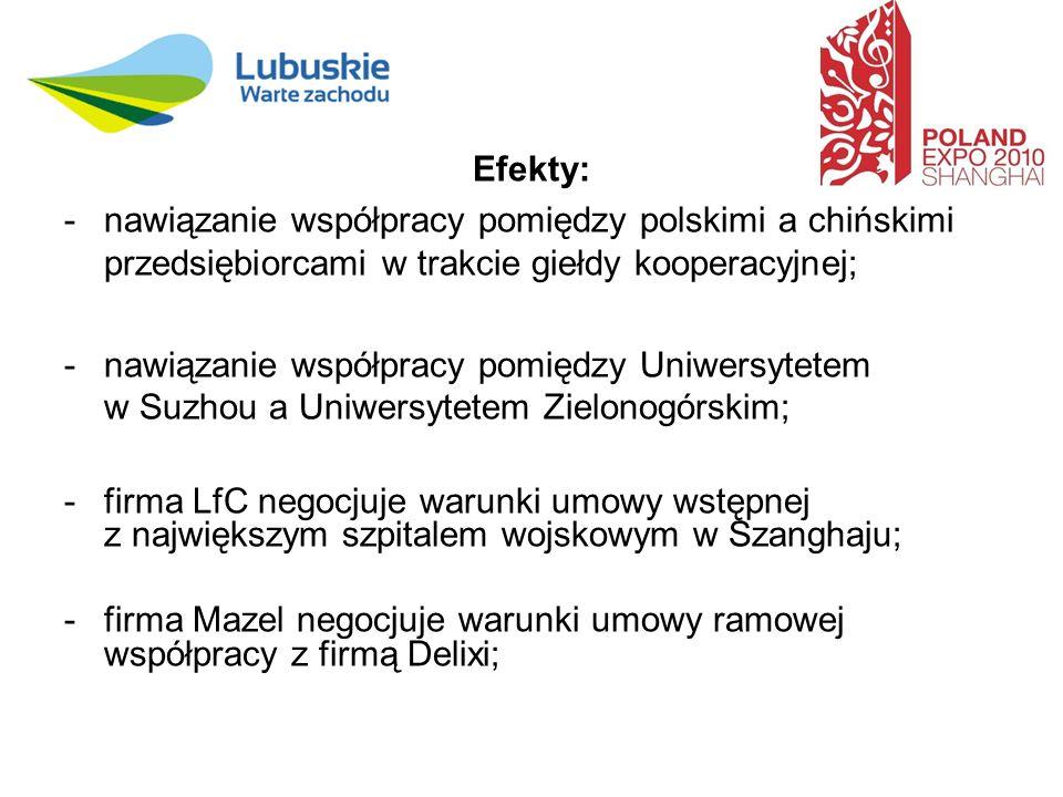 Efekty: -nawiązanie współpracy pomiędzy polskimi a chińskimi przedsiębiorcami w trakcie giełdy kooperacyjnej; -nawiązanie współpracy pomiędzy Uniwersytetem w Suzhou a Uniwersytetem Zielonogórskim; -firma LfC negocjuje warunki umowy wstępnej z największym szpitalem wojskowym w Szanghaju; -firma Mazel negocjuje warunki umowy ramowej współpracy z firmą Delixi;