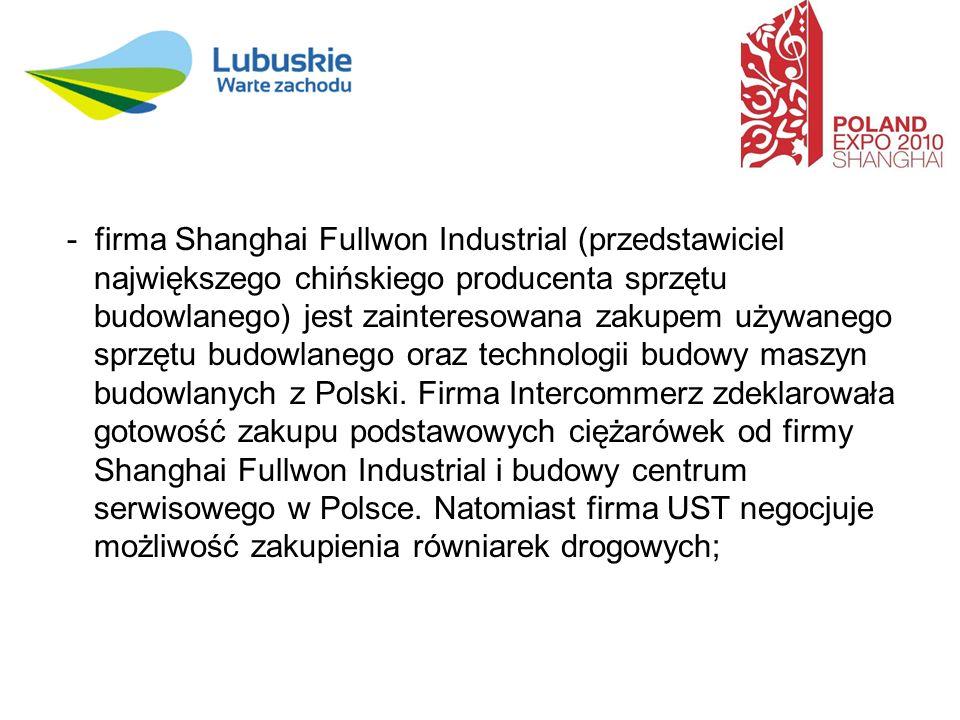 - firma Shanghai Fullwon Industrial (przedstawiciel największego chińskiego producenta sprzętu budowlanego) jest zainteresowana zakupem używanego sprzętu budowlanego oraz technologii budowy maszyn budowlanych z Polski.