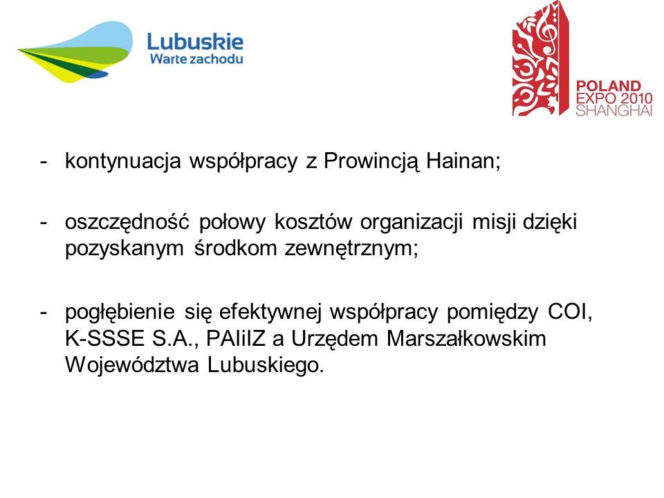 -kontynuacja współpracy z Prowincją Hainan; -oszczędność połowy kosztów organizacji misji dzięki pozyskanym środkom zewnętrznym; -pogłębienie się efektywnej współpracy pomiędzy COI, K-SSSE S.A., PAIiIZ a Urzędem Marszałkowskim Województwa Lubuskiego.