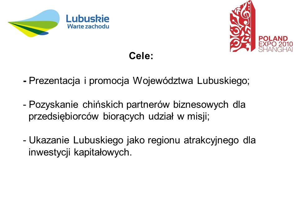 Cele: - Prezentacja i promocja Województwa Lubuskiego; - Pozyskanie chińskich partnerów biznesowych dla przedsiębiorców biorących udział w misji; - Ukazanie Lubuskiego jako regionu atrakcyjnego dla inwestycji kapitałowych.