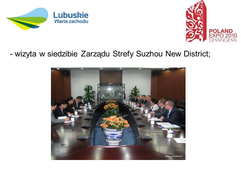 - wizyta w siedzibie Zarządu Strefy Suzhou New District;