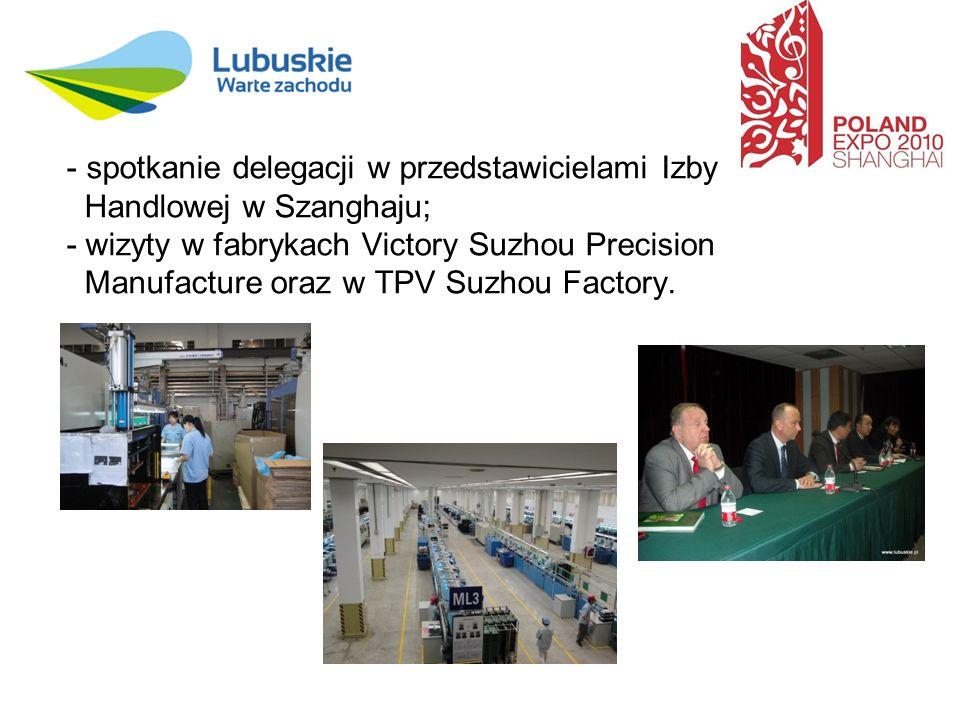 - spotkanie delegacji w przedstawicielami Izby Handlowej w Szanghaju; - wizyty w fabrykach Victory Suzhou Precision Manufacture oraz w TPV Suzhou Factory.