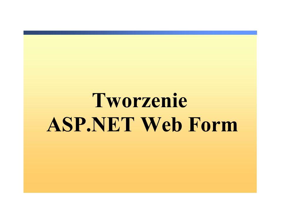 HTML Server Controls Oparte o elementy HTML Zdefiniowane w przestrzeni nazw System.Web.UI.HtmlControls