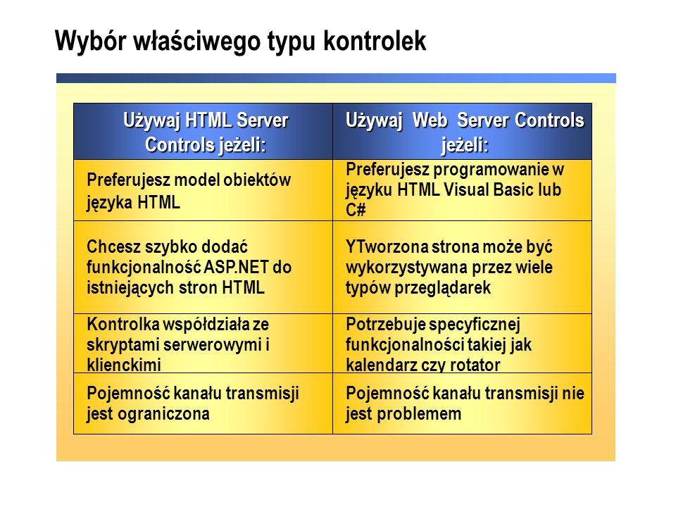 Potrzebuje specyficznej funkcjonalności takiej jak kalendarz czy rotator Kontrolka współdziała ze skryptami serwerowymi i klienckimi YTworzona strona