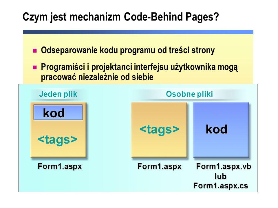 Czym jest mechanizm Code-Behind Pages? Odseparowanie kodu programu od treści strony Programiści i projektanci interfejsu użytkownika mogą pracować nie