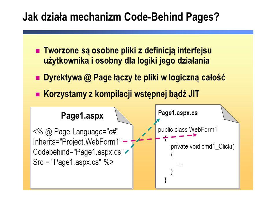 Jak działa mechanizm Code-Behind Pages? Tworzone są osobne pliki z definicją interfejsu użytkownika i osobny dla logiki jego działania Dyrektywa @ Pag