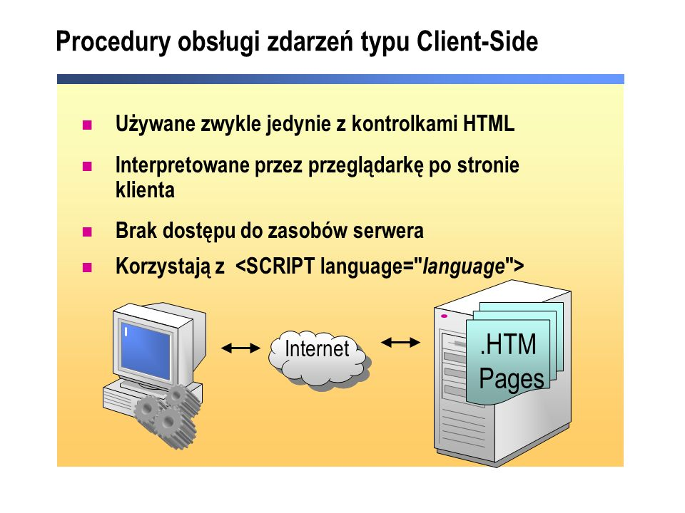 Procedury obsługi zdarzeń typu Client-Side Internet.HTM Pages Używane zwykle jedynie z kontrolkami HTML Interpretowane przez przeglądarkę po stronie k