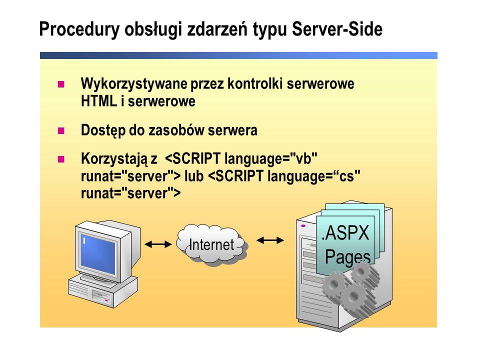 Procedury obsługi zdarzeń typu Server-Side Wykorzystywane przez kontrolki serwerowe HTML i serwerowe Dostęp do zasobów serwera Korzystają z lub Intern