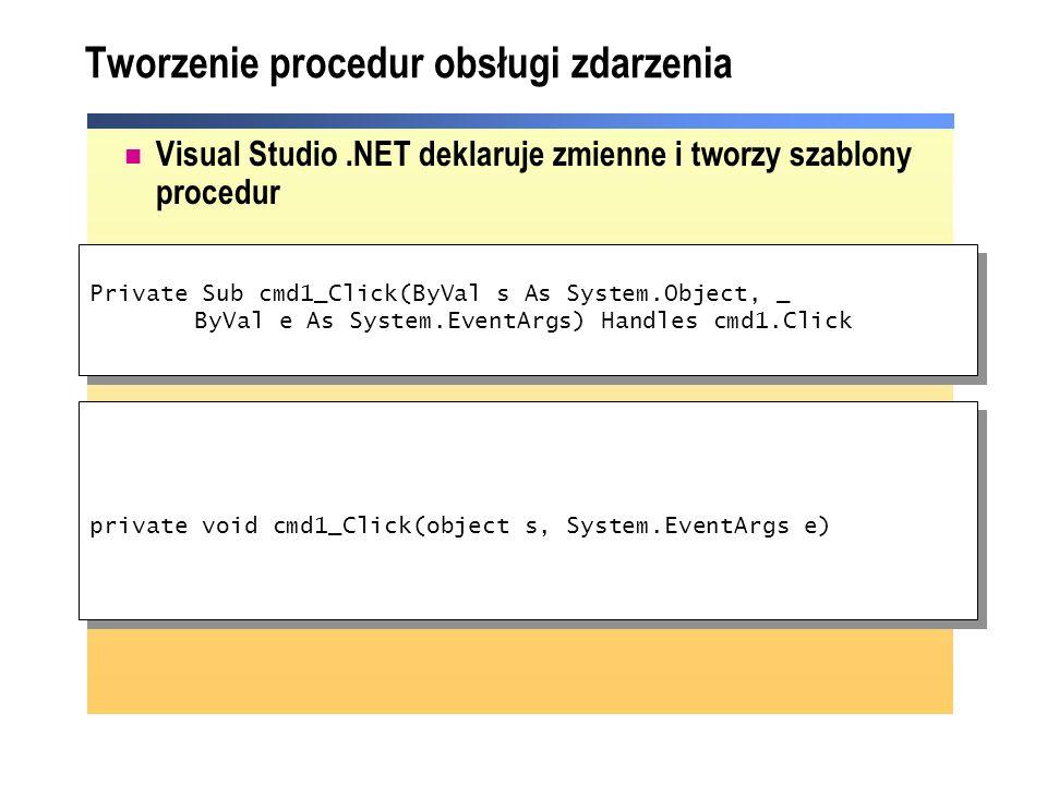Tworzenie procedur obsługi zdarzenia Visual Studio.NET deklaruje zmienne i tworzy szablony procedur private void cmd1_Click(object s, System.EventArgs