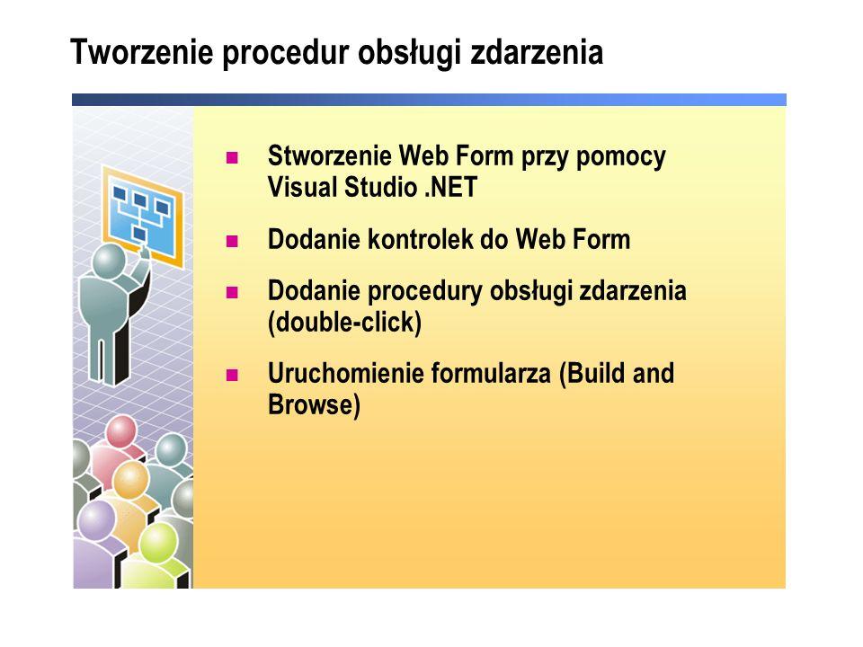 Tworzenie procedur obsługi zdarzenia Stworzenie Web Form przy pomocy Visual Studio.NET Dodanie kontrolek do Web Form Dodanie procedury obsługi zdarzen