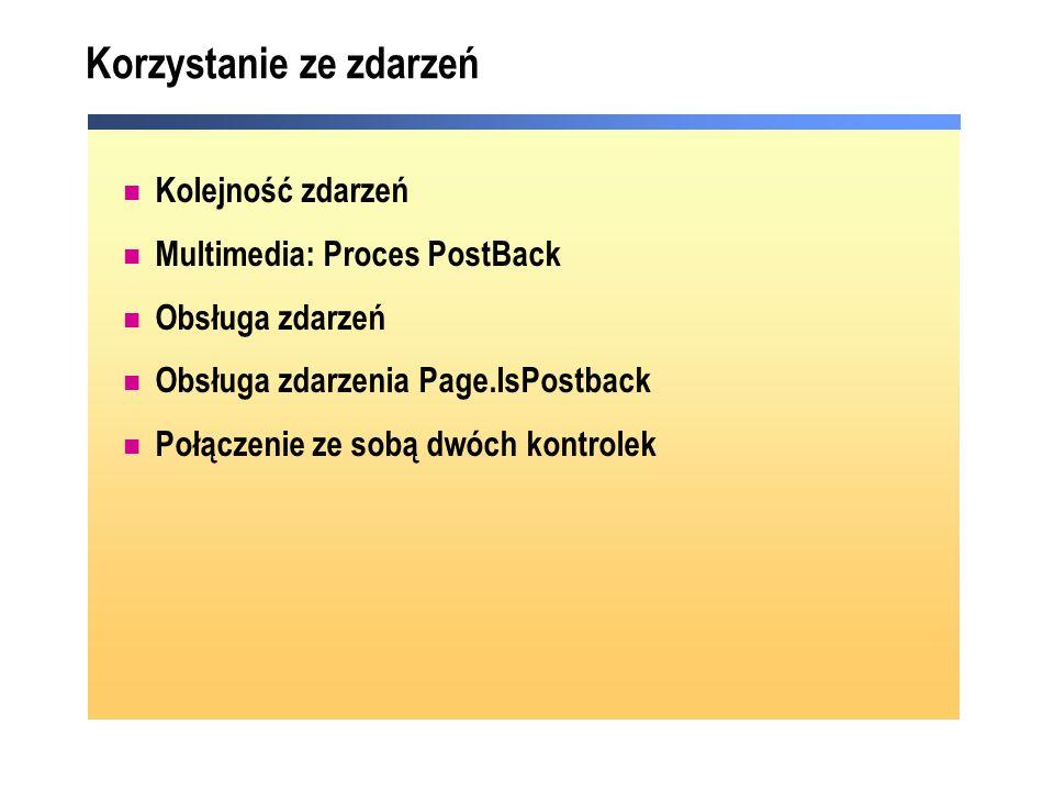 Korzystanie ze zdarzeń Kolejność zdarzeń Multimedia: Proces PostBack Obsługa zdarzeń Obsługa zdarzenia Page.IsPostback Połączenie ze sobą dwóch kontro