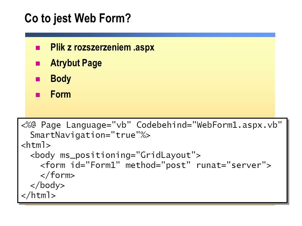 Tworzenie Web Form przy pomocy Visual Studio.NET Nowa aplikacja ASP.NET Web domyślnie tworzy stronę: WebForm1.aspx Solution Explorer – narzędzie do tworzenia dodatkowych stron Web Forms Upgrade istniejących stron HTML do postaci Web Forms
