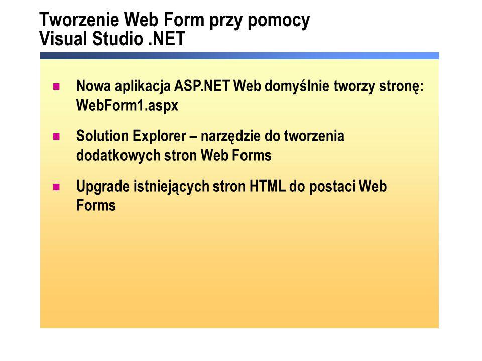 Tworzenie Web Form przy pomocy Visual Studio.NET Nowa aplikacja ASP.NET Web domyślnie tworzy stronę: WebForm1.aspx Solution Explorer – narzędzie do tw