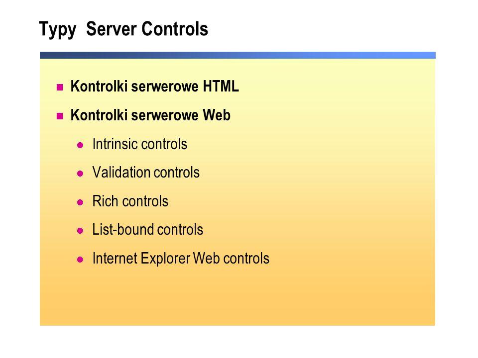 Typy Server Controls Kontrolki serwerowe HTML Kontrolki serwerowe Web Intrinsic controls Validation controls Rich controls List-bound controls Interne