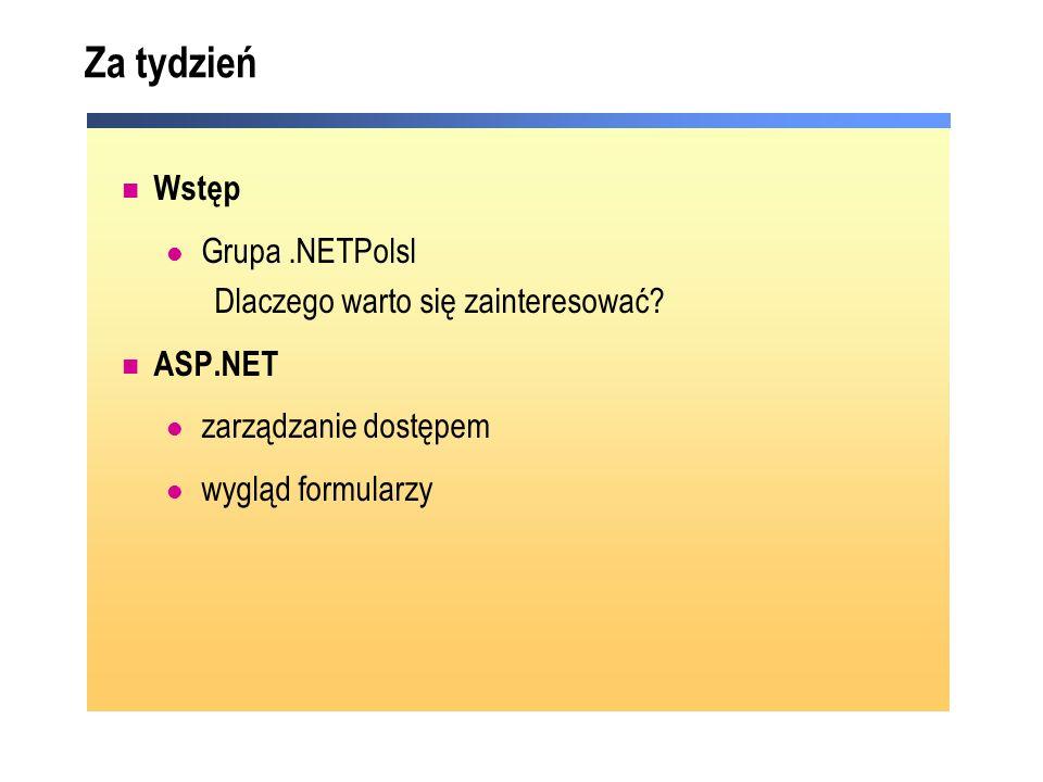 Za tydzień Wstęp Grupa.NETPolsl Dlaczego warto się zainteresować? ASP.NET zarządzanie dostępem wygląd formularzy