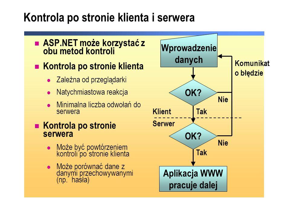 Kontrola po stronie klienta i serwera ASP.NET może korzystać z obu metod kontroli Kontrola po stronie klienta Zależna od przeglądarki Natychmiastowa r