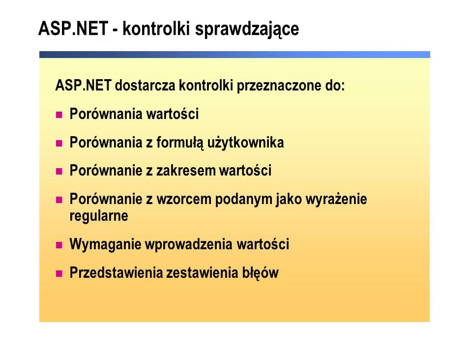 ASP.NET - kontrolki sprawdzające ASP.NET dostarcza kontrolki przeznaczone do: Porównania wartości Porównania z formułą użytkownika Porównanie z zakres