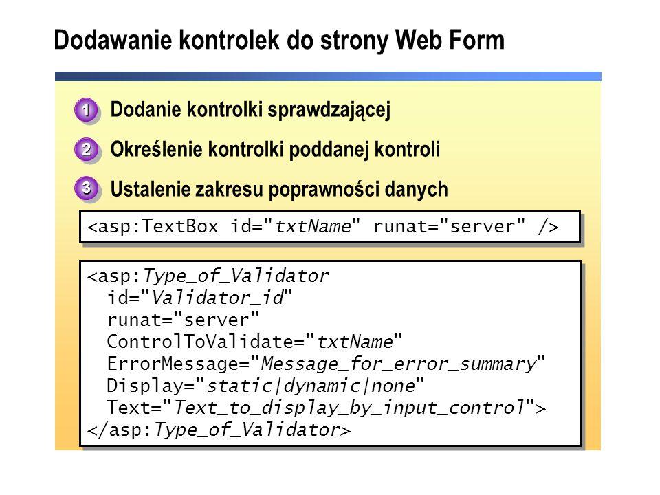 Dodawanie kontrolek do strony Web Form 1.Dodanie kontrolki sprawdzającej 2.Określenie kontrolki poddanej kontroli 3.Ustalenie zakresu poprawności dany