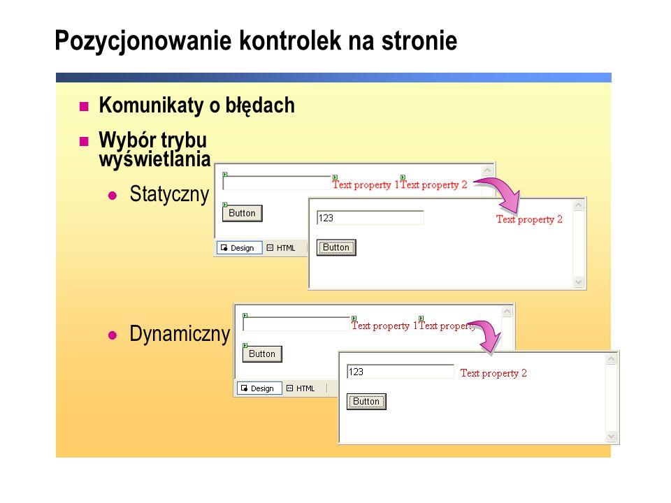 Pozycjonowanie kontrolek na stronie Komunikaty o błędach Wybór trybu wyświetlania Statyczny Dynamiczny