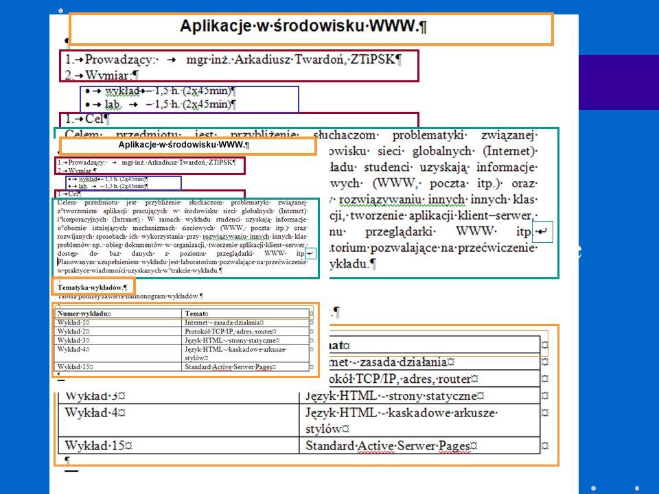 Elementy dokumentu Nagłowki Akapity tekstu Listy numerowane Listy nienumerowane Tabele